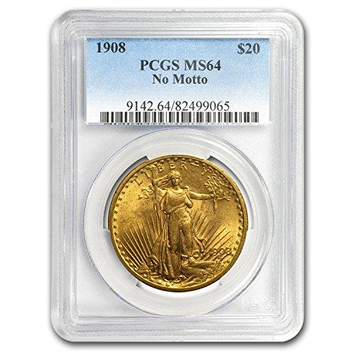 (1908 $20 Saint-Gaudens Gold Double Eagle No Motto MS-64 PCGS G$20 MS-64)