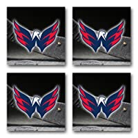 Capitals Hockey Rubber Square Coaster set (4 pack) Great Gift Idea Washington