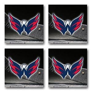 Capitals Hockey Rubber Square Coaster set (4 pack) Great Gift Idea Washington