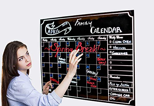 (Monthly Dry Erase Refrigerator Calendar With Vintage Chalkboard Design | Includes 3 Easy-Erase Chalk Markers| 16X12 Magnetic BlackBoard Organizer with To-Do List)