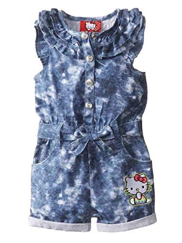 Hello Kitty Infant Girls Blue Denim Romper Outfit 1 Piece Jumper 12m