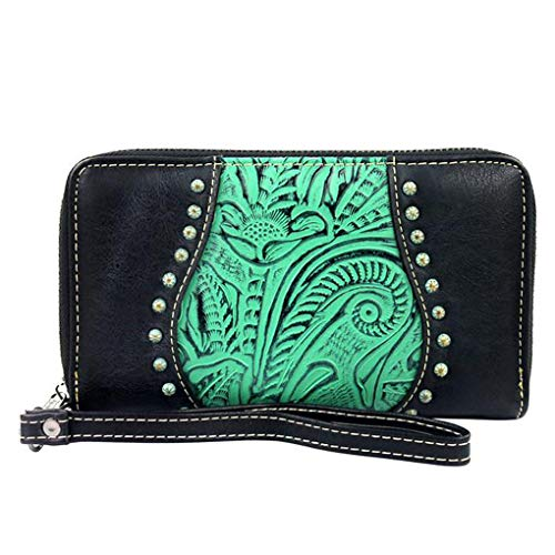 Montana West Accordion Wallet Wristlet Clutch w Key Chain (Turquoise Tooled Trinity Ranch Leather)