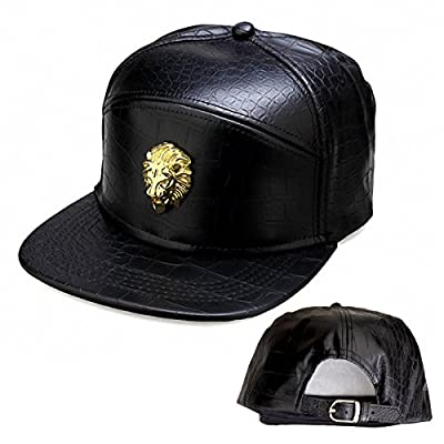 Metal Badges NUKIC Unisex Leather Lion Head Baseball Cap Adjustable Flat Bill Snapback Hat from Metal Badges baseball hat