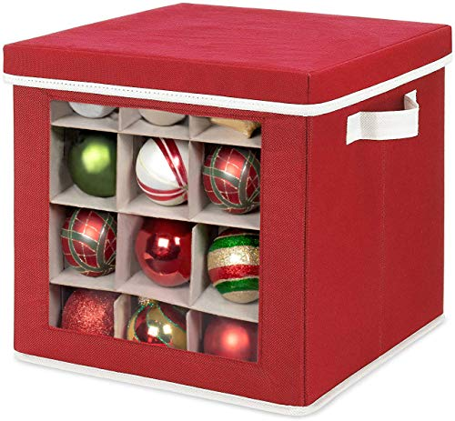 Whitmor Holiday Ornament Storage Cube with 64 Individual Compartments - Durable Non-Woven Polypropylene Fabric - Clear Front Window - Removable Top and Convenient Handle - Xmas Ornaments Organizer (Ornament Fabric Christmas)