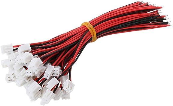 50 Sets JST XH 2.5 2 Broches Connecteur De Batterie Femelle Mâle avec 150 mm fil