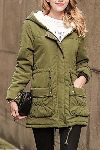 Parka De Mujer Invierno Abrigo Chaqueta De Algodón Con Cremallera Hoddies Outwear Green