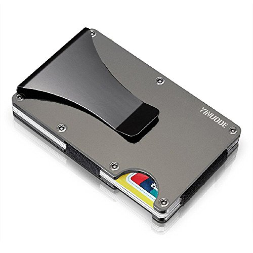 Aluminum Slim Wallet Front Pocket Wallet Minimalist Wallet RFID Blocking With Money Clip GRAY