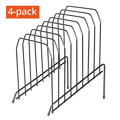 DESIGNA 8 Section Incline Sorter, Multi Step Wire File Desktop Organizer Black 4-Pack