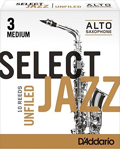 (Rico Select Jazz Alto Sax Reeds, Unfiled, Strength 3 Strength Medium, 10-pack)