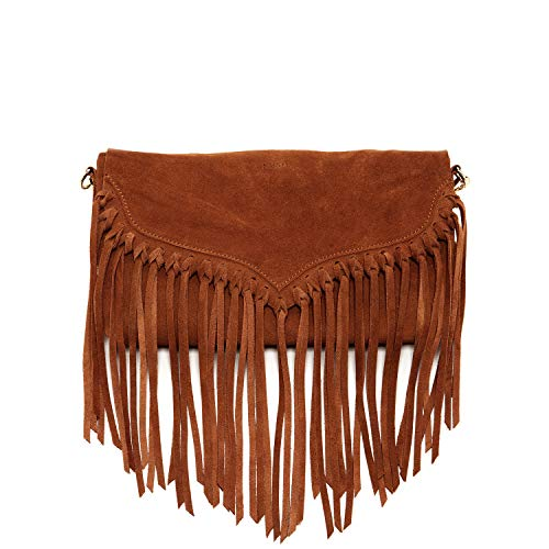 Fringe Purse Boho Suede Leather Crossbody Bag For Women Hippie Crossover Dark Brown Designer Purses and Handbags Bohemian Tassel Western Street Style Small It Bag with Removable Over Shoulder Strap