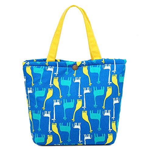 MOSOUL Buckle Lunch Bag Insulated Cotton Printed Cooler Tote Box Women Lunch Organizer Tote Bag Lunch Holder Lunch Container (Blue-Giraffe)