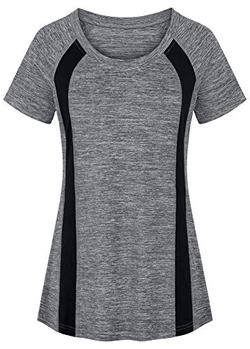 Helloacc Athleisure Tops for Women Plus Size,Short Sleeved Workout Shirts Curvy Hemline Oversize Gym Tops for Juniors Hipster Running Comfy Cozy Soft Tunic Tees Baggy Sporty Informal Baseball XXL Gray