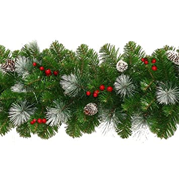 Frosted Christmas Garland with Pine Cones & Berries 9ft: Amazon.co ...