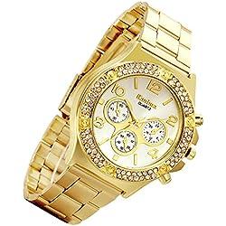 Lancardo Luxury Bling Double Daul Rhinestone Bezel Gold Tone Watch (Gold)