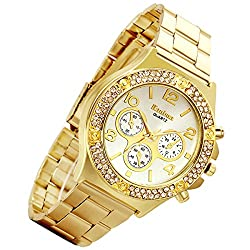 Men's Rhinestone Gold Casual Wrist Watch