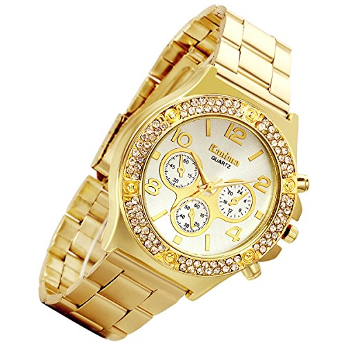 Men's Gold Costume Hip Hop Luxury Bling Double Dual Rhinestone Bezel Japan Quartz 30M Waterproof Dress Casual Watch]()