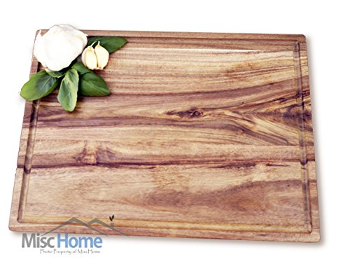 Show +Sale+ Gourmet Acacia Cutting Board with Juice Drip Groove 14 x 10 Inches Eco Friendly Perfect for Cutting or Serving Platter as a Cheese Plate With Unique Wood Grain Better Than Bamboo price