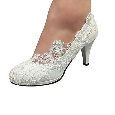 "e8e8d475b5a9 Bridal Wedding Shoes Closed Toe Dress Pumps Stiletto Heel with Stitching  Lace,2.2"" White"
