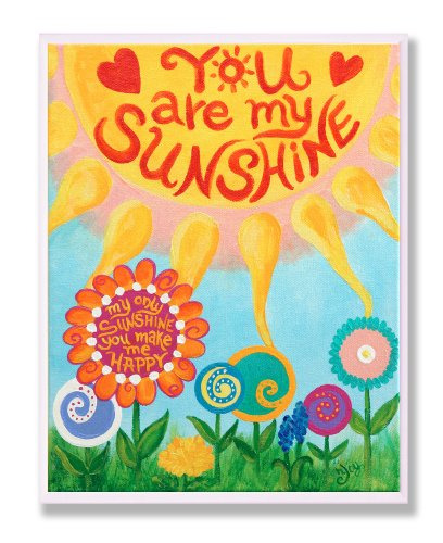 The Kids Room by Stupell You Are My Sunshine Rectangle Wall Plaque, 11 x 0.5 x 15, Proudly Made in USA by The Kids Room by Stupell