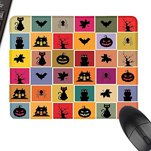Vintage Halloween Hot Selling Extra Large Mouse Pad Bats Cats Owls Haunted Houses in Squraes Halloween Themed Darwing Art Laptop Desk Mat, Waterproof Desk Writing Pad 23.6