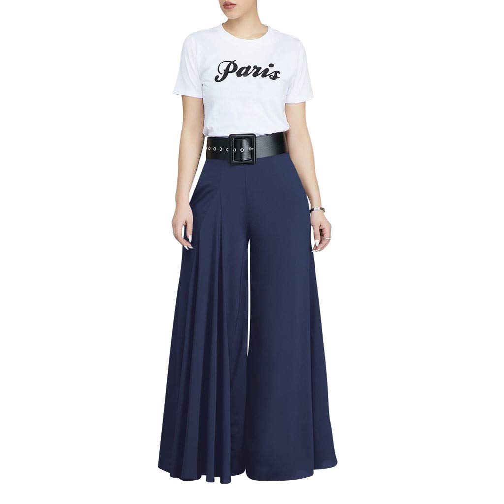 VEZAD Store Wide Leg Pants Women's Solid Pleated Loose Casual Comfortable Trousers Dark Blue by VEZAD Store