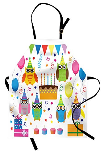 Lunarable Owl Apron, Colorful Woodland Animals Gathered for Birthday Party Balloons Cake and Stars Cartoon, Unisex Kitchen Bib Apron with Adjustable Neck for Cooking Baking Gardening, Multicolor by Lunarable