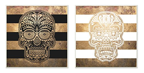 Stupell Home Décor Sugar Skulls Boho Golds Graphic Wall Plaque 2-Piece Set, 12 x 0.5 x 12, Proudly Made in ()