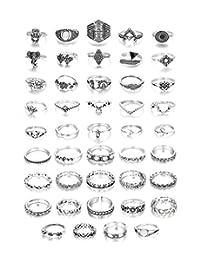 Udalyn 44 Pcs Vintage Knuckle Rings for Women Bohemian Finger Stackable Rings Set