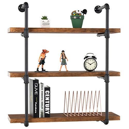 mecor Industrial Pipe Shelves with Wood 3-Tiers, Rustic Wall Mount Shelf 35.1in,Metal Hung Bracket Bookshelf,DIY Storage… 3