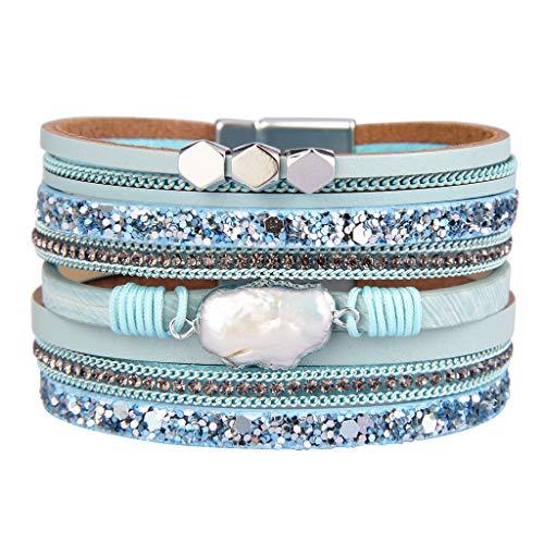 Jenia Baroque Pearl Leather Cuff Bracelet Multiple Strand Wrap Bracelets Magnetic Braided Bangle Bohemian Gift for Women, Teens Girls, Wife, Sister ()