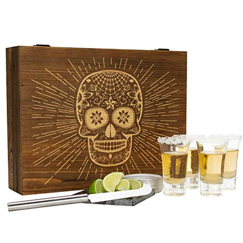 Atterstone Tequila Box Set Featuring 4 Premium Shot Glasses, Garnish Knife, Salt Tin with Lid, Candy Skull Themed Wooden Box and Coaster | Perfect for Mexican Themed Parties, Holiday Gifts -