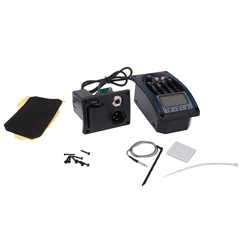 MonkeyJack 4-Band Preamplifier EQ Equalizer Pickup Tuner Kit for Acoustic Guitar Parts
