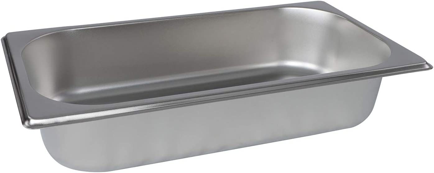 Lot45 Stainless Steel Steam Pan - 1/3 Size Hotel Table Pans, Chafing Buffet Restaurant Trays for Catering, 3in Deep 1pk
