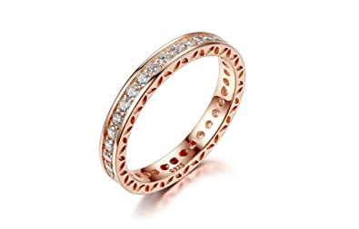 Dixey Luxury Anillos Classic Wedding Finger Ring Rose Gold Rings with Zircon (6) RI0015