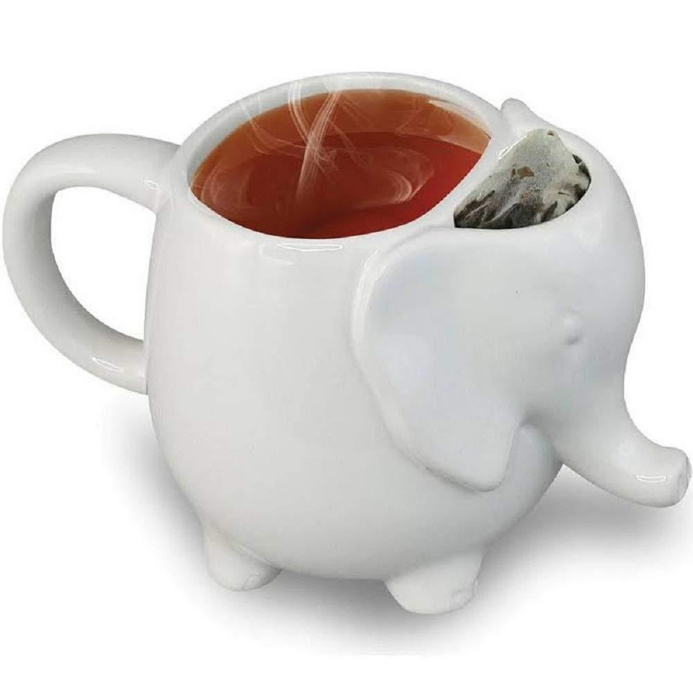 White Ceramic Elephant Tea Mug Teabag Holder