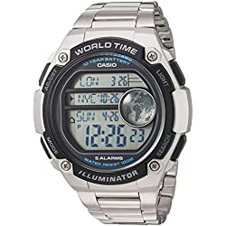 Casio Men's 'Classic' Quartz Resin and Stainless Steel Casual Watch, Color:Silver-Toned (Model: AE-3000WD-1AVCF)