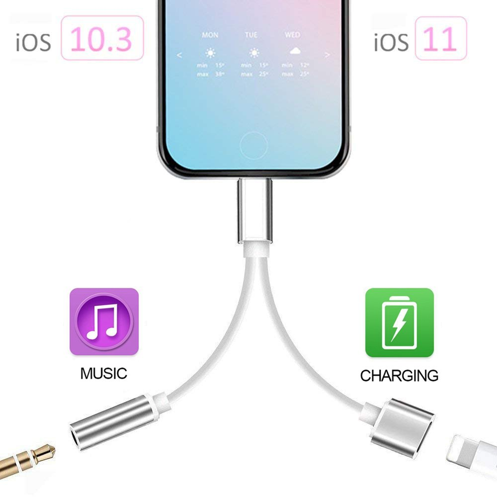 2 in 1 Lightning Adapter for iPhone 7/7 Plus/8/8 Plus/X, iPhone Adapter/Splitter, 2-Port Lightning Headphone Audio and Charger Adapter (Compatible with iOS 10.3, iOS 11 or Later)