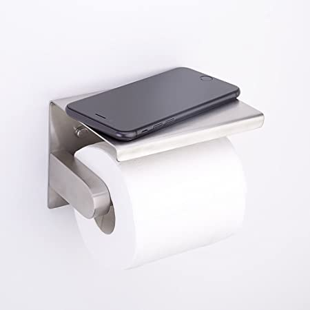 Charmingwater Stainless Steel Toilet Paper Holder Wall Mounted Bathroom  Tissue Holder With Phone Storage Shelf,