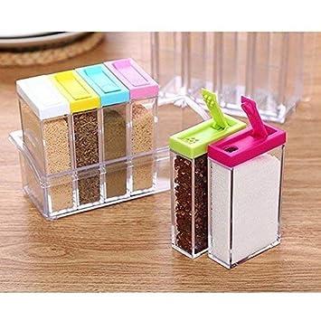 Salz Gew/ürzstreuer transparenter Gew/ürz-Aufbewahrungsbox Aufbewahrungsbeh/älter mit Tablett f/ür Pfeffer Gew/ürzflaschen 4-teiliges Acryl-K/üchengl/äser-Set mit 4 Servierl/öffeln Zucker