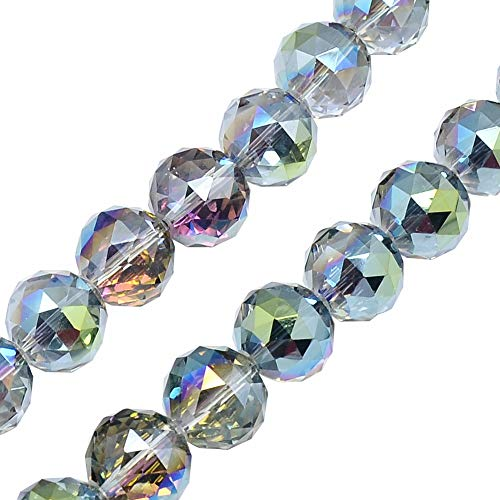 PandaHall About 50Pcs 16mm Electroplate Glass Beads Faceted Round Beads Briollete Rainbow Plated Colorful Bead for Jewelry Making