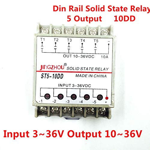 10DD 5 Channel Din Rail SSR quintuplicate Five Input 3~36VDC Output 10~36VDC Single Phase DC Solid State Relay