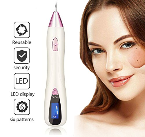 [UPGRADE] Portable Mole Remover, Newest 6-Gears Adjustable Power-Output Rechargeable Skin Tag Removal Pen with LCD, Home Use Laser Freckle Warts Dot Dark Spot Tattoo Eraser