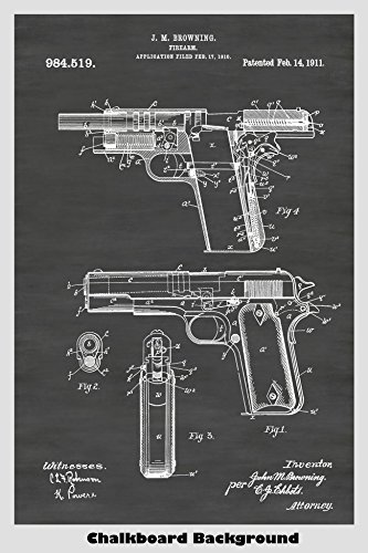 Colt 1911 Semi-Automatic Pistol Patent Print Art Poster: Choose From Multiple Size and Background Color - M1911a1 Pistol