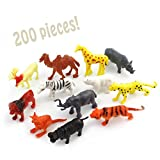 Party Favor Safari & Jungle Mini Wild Animals Figure Bundle (200 pieces); Figurines for Zoo or Jungle Theme