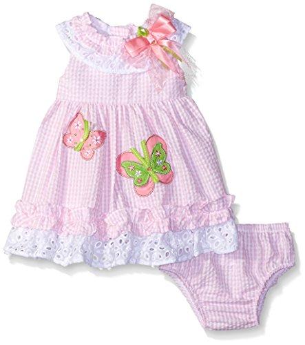 Rare Editions Girls' Butterfly Seersucker Dress, Pink/White, 6 (Rare Editions Butterfly Dress)