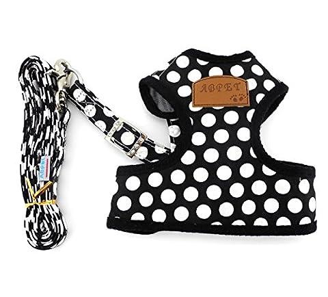 SMALLLEE_LUCKY_STORE New Soft Mesh Nylon Vest Pet Cat Small Medium Dog Harness Dog Leash Set Leads Black L