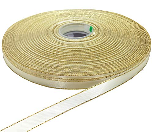 PartyMart 3/8 inch Satin Ribbon with Golden Edges, 100 Yards, ()