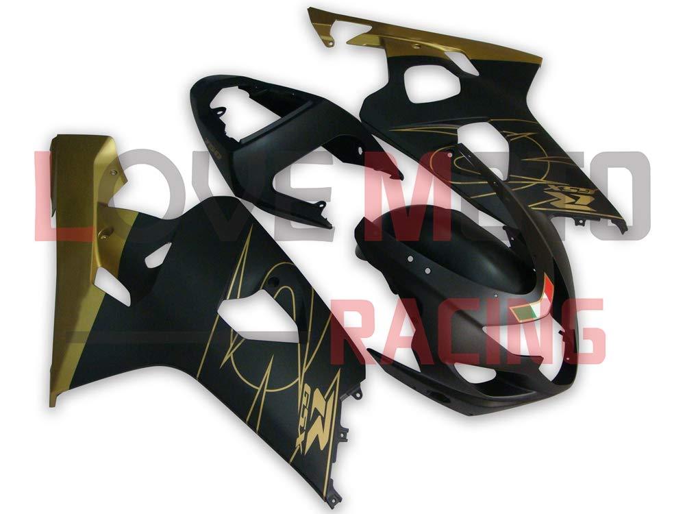 LoveMoto ブルー/イエローフェアリング スズキ suzuki GSX-R600 GSX-R750 K4 2004 2005 04 05 GSXR 600 750 ABS射出成型プラスチックオートバイフェアリングセットのキット ブラック ゴールデン   B07KF8J9RM