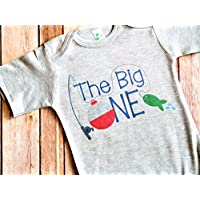081b3def7 First Birthday Outfit - The Big One - Fishing Theme - Gray Bodysuit