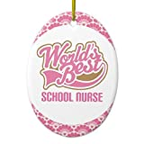 Xmas Tree Decorations Worldâ€s Best School Nurse Gift Ornament Oval Ornament Crafts for Kids Home Christmas Decorative